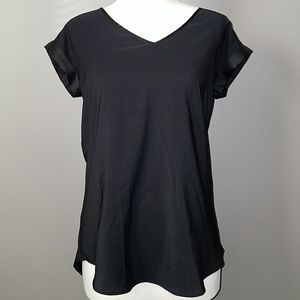 Silky Rolled Sleeve V-Neck-Small